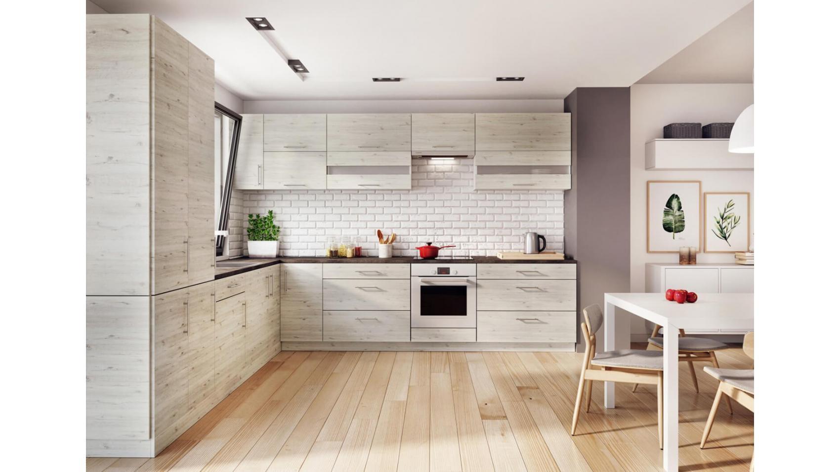 Luna Cortona - białe, z odcieniem szarości i rysunkiem drewna dębowego meble kuchenne
